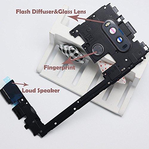 (Eaglestar Replacement Mid Bezel/Middle Chassis Housing Frame for LG V20 H910 H915 H990 LS997 US996 VS995 Replacement Parts W/Buzzer Loudspeaker/Camera Lens Glass/Fingerprint-Black)