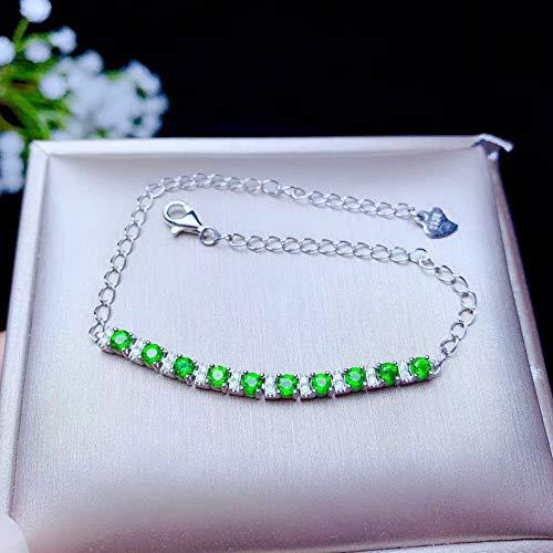 Natural Green Chrome Diopside Bracelet, White Gold Plated Sterling Silver Bracelet For Women, Engagement Cocktail Wedding Art Deco Aesthetic