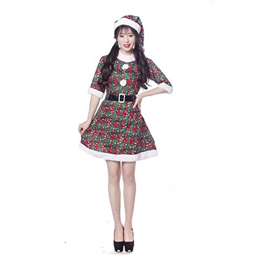 Amazon.com  Happy Island 2019 Christmas Santa Claus Costumes Super Suit  Dress Cosplay Clothes for Adult Women Girls (Green)  Clothing 2e2f79b70df2