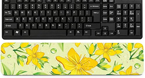 Liili Keyboard Wrist Rest Pad Long Extended Arm Supported Mousepad Elegance Seamless beige and Hypericum with green tea IMAGE ID 11289025