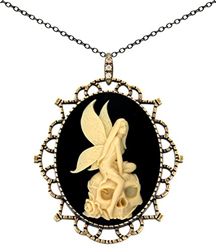 Princess Crown Necklace Antique Brass Fashion Jewelry Deluxe Pouch for Gift (Skull Fairy)