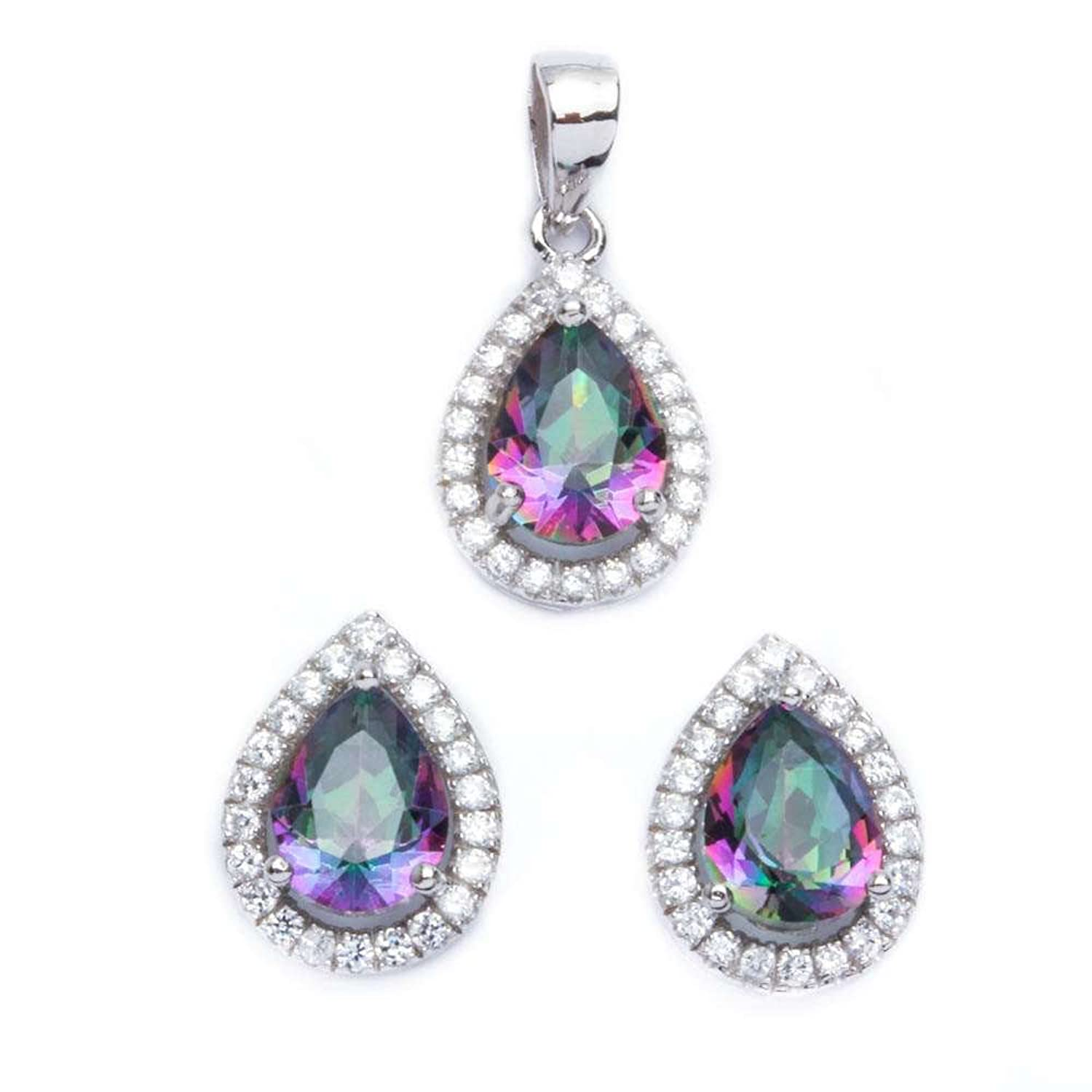 .925 Sterling Silver 2.50ct Pear Cut Rainbow Colored CZ & Cz Earring & Pendant Jewelry set