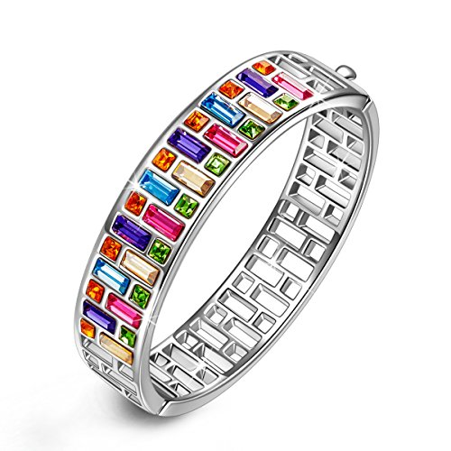 PAULINE & MORGEN Mothers Day Gifts White Gold Plated Bangle Bracelets Jewelry for women mother mom mother in law grandma aunt wife Multicolor Austrian Crystals 40th 50th 60th Birthday Gifts for from W