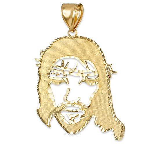 Hip-Hop Jewelry by LA BLINGZ 10K Yellow Gold Jesus Face DC Mens Pendant (L-1.95'') by Hip-Hop Jewelry by LA BLINGZ