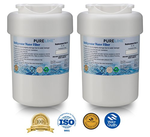 GE MWF Refrigerator Water Filter Smartwater Compatible Cartridge, 2 Pack - By Pure Line (2 Pack)