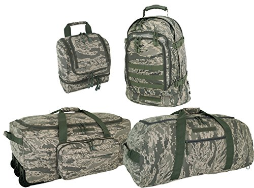 Air Force ABU 4 Piece Travel Kit: Deployment Bag, 3 Day Packpack, Giant Duffle & Shave Kit by Code Alpha