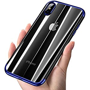 iPhone X Case, COOLQO [Support Wireless Charging] Ultra-thin Crystal Clear Soft Flexible TPU Bumper Slim Electroplating Transparent Protective Cover & Skin For Apple iPhone 10 / X 5.8 inch (Blue)