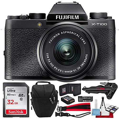 Fujifilm X-T100 Mirrorless Digital Camera with XC15-45mmF3.5-5.6 OIS PZ Lens (Black) and 32GB Accessory Bundle