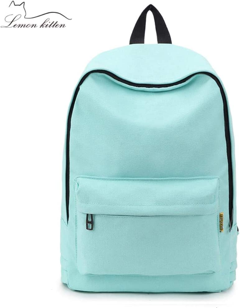 ASHX Moda Zaino Donna Zaino Tinta unita Viaggio Casual Borsa di Scuola Per Ragazze Adolescenti Bagpack Femminile, Colore menta 2, 38cmx28cmx12cm Rosa