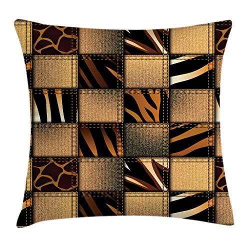 Ambesonne Safari Throw Pillow Cushion Cover, Jeans Denim Patchwork in Safari Style Wilderness Design Art Print, Decorative Square Accent Pillow Case, 24