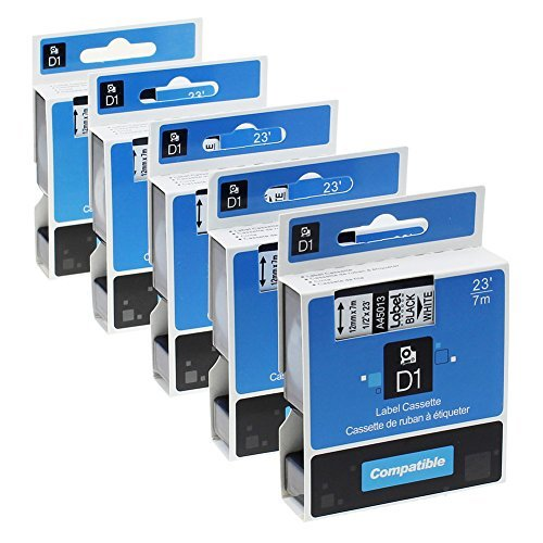 Label KINGDOM 5 Pack Replacement DYMO D1 45013 S0720530 Tape Cassette 12mm Compatible for Dymo LabelManager Printer, Black on...