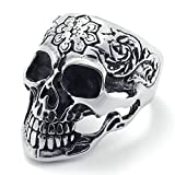 Daesar Stainless Steel Rings Silver Black Bands Skull Rings Flower Vintage Gothic Punk Rings