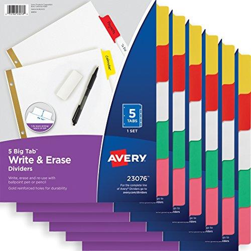 Avery Big Tab Write & Erase Dividers, 5-Tab Set, Multicolor, Multi Pack of 6 Sets (23076)