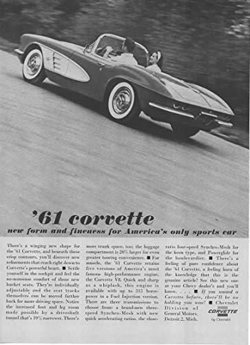 Magazine Print Ad: 1961 Chevrolet Corvette Convertible, Highway scene,