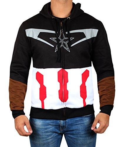 Miracle(Tm) Avengers Infinity War Captain America Hoodie - Mens Adult Costume Zip up Sweatshirt (L)