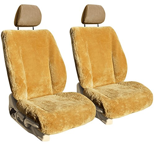 Front Seats: ShearComfort Custom Sheepskin Seat Covers for Dodge Neon (1995-2001) in Camel for Sport Buckets