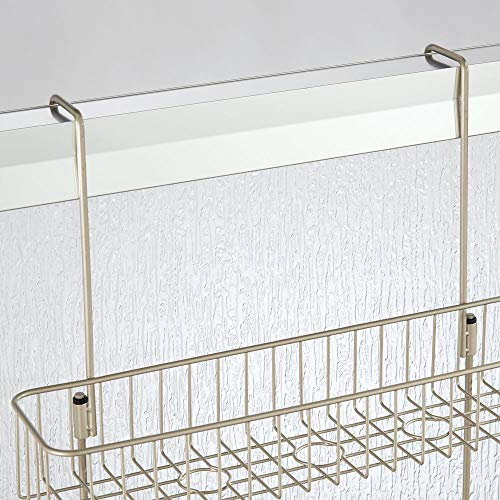 mDesign Wire Over The Storage Center Built-in Hooks on Shampoo, Wash, - Satin