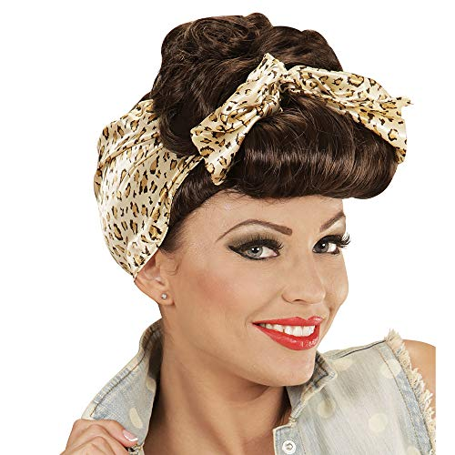 widmann Rockabilly Girl Wig W/Headscarf - Brown -