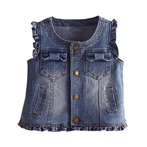 Mud Kingdom Fashion Toddler Girl Jean Vest Cute Navy Blue 4T