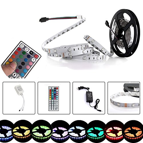 LED Strip Light 16.4Feet 150LEDs RGB LED Light Strip 5050SMD with IR Remote and Power Supply for Home Decor