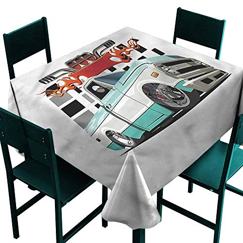 (DONEECKL Restaurant Tablecloth Truck Lowrider Pickup Vehicle Picnic W63 xL63)
