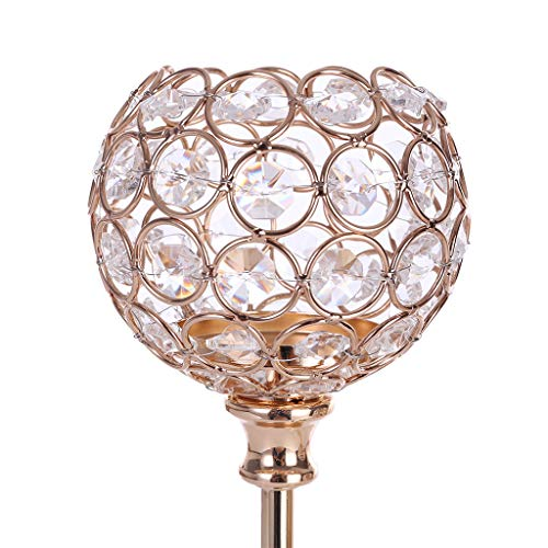 Chenway Crystal Candle Holder Holder Wedding/Candle Lampshade Wedding/Coffee Table Decoration Pattern/Mini Candlestick [Ship from USA Directly] (Gold)