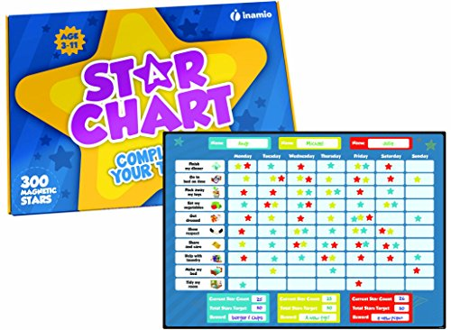 (Star Chart for Kids – Magnetic Rewards Chore Chart for Responsibility, Good Behavior and Potty Training – for Toddlers, Boys and Girls – Includes 20 Magnetic Chores and 300 Stars. 12 x 17)