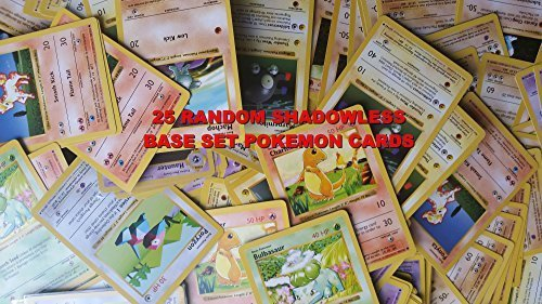 25 Shadowless Base (Basic) Pokemon Cards From 1999 - Wholesale Lot -