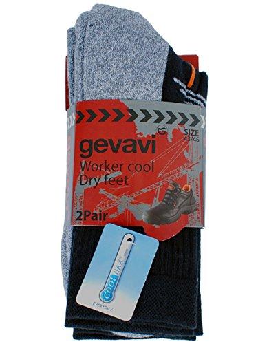 Gevavi Workwear Gw8100390 Gw81 Coolmax Strumpfe 2 Paar, 39-42, Schwarz