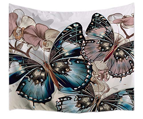 - A.Monamour Vintage Floral Butterfly Art Print Textile Fabric Mural Tapestry Wall Hangings Decorations for Bedroom Dorm Dividers Curtains 153x102cm/60 x40