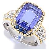 Michael Valitutti Palladium Silver Tanzanite Quartz Doublet & Blue Sapphrie ''Mini Czarina'' Cocktail Ring