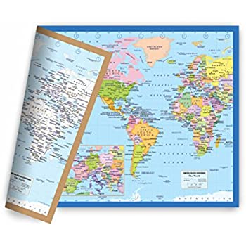 Amazon world map small poster size 115 x 175 inches 2 sided world map small poster size 115 x 175 inches 2 sided sealed lamination publicscrutiny Gallery