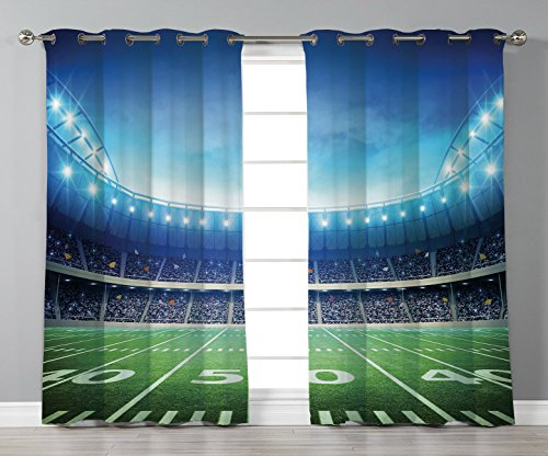 Thermal Insulated Blackout Grommet Window Curtains,Football,Photo of American Stadium Green Grass Arena Playground Bleachers Event Match,Blue Green White,2 Panel Set Window Drapes,for Living Room Bedr
