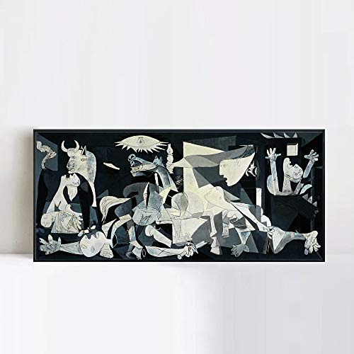 INVIN ART Framed Canvas Giclee Print Art Guernica by Pablo Picasso Wall Art Living Room Home Office Decorations(Black Slim Frame,20
