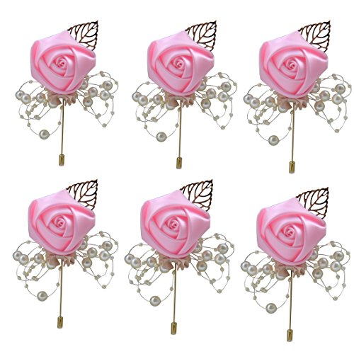 (ZJCilected 6Pieces/lot Handmade Men's Lapel Satin Flower Pearl Decor Boutonniere Pin for Suit Wedding Groom Groomsmen Brooch Rose Boutonniere(Pink))