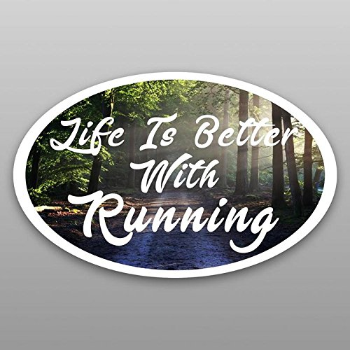 Life Is Better With Running Vinyl Decal Sticker | Cars Trucks Vans Windows Walls Cups Laptops | Full Color Printed | 5.5 X 3 | KCD2057