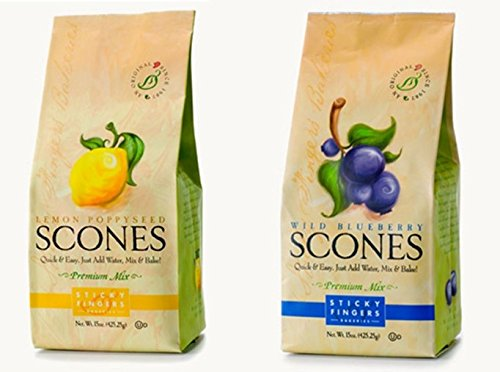 (Sticky Fingers Bakeries Premium Scone Variety Mix, Lemon Poppyseed and Wild Blueberry (Pack of 2))