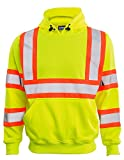 ERB Safety Products 63629 ERB W376C HVL Pullover Sweatshirt with Contrasting Trim, Class 3, Large, Yellow