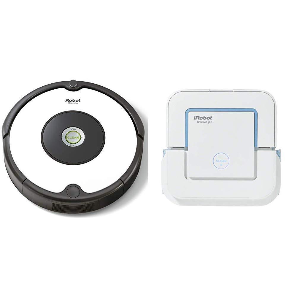 iRobot - Set con Roomba 605 Robot Aspirador para Suelos Duros y Alfombra, Tecnología Dirt Detect + Braava Jet 240 Robot Fregasuelos, 3 Modos de Limpieza, ...