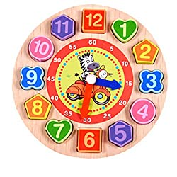 FINERINE Cartoon Animal Educational Toys For Children Wooden Beaded Digital Clock (A)