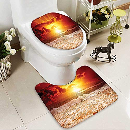 SOCOMIMI 2 Piece Extended Bath mat Set Collection Sunset Sun Horizon Behind Clouds Lights up Wavy Sea Beach 2 Piece Toilet Cover Set ()