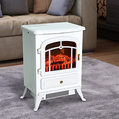 Cheap Godyluck Free Standing Electric Fireplace Fire Realistic Flame Effect Space Stove Heater with Adjustable Thermostat for Home and Office White 16.25 x 11 x 21.5 Inches (W x D x H) Black Friday & Cyber Monday 2019