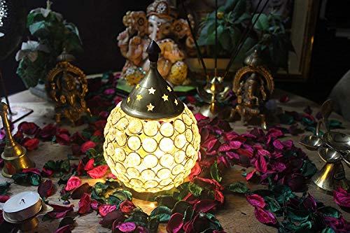 Ein Sof Akhand Diya Decorative Brass Crystal Oil Lamp Tea Light Holder Lantern Puja Lamp Decorative for Home Office…