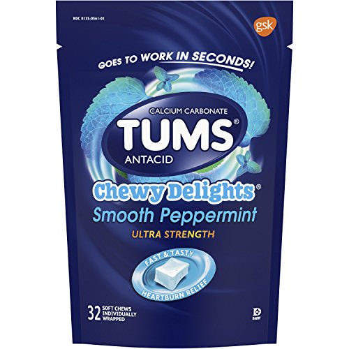 TUMS Chewy Delights Smooth Peppermint Ultra Strength Antacid Soft Chews for Heartburn Relief, 32 (Antacid Chew)