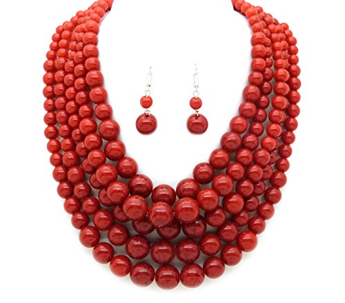 Women's Simulated Faux Pearl Five Multi-Strand Statement Necklace and Earrings Set (Coral Turquoise)
