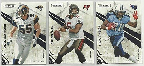 Three 2010 Panini Rookies & Stars NFL Football Cards - Chris Johnson #143 - James Laurinaitis #136 - Josh Freeman #139 ()
