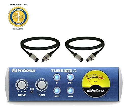 Tube Preamp Microphone Channel (PreSonus TubePre v2 Compact Single-channel Mic Preamp with 2 XLR Cables and 1 Year Free Extended Warranty)
