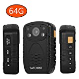 SAFEVANT 1296P HD Police Body Camera, Multi-functional Body Worn Camera with 64GB Memory
