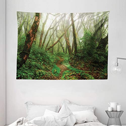 Ambesonne Forest Tapestry, Spooky Tropical Exotic Fog Jungle in Rainforest Nepal Climate Picture Print, Wide Wall Hanging for Bedroom Living Room Dorm, 80 X 60 , Green Brown