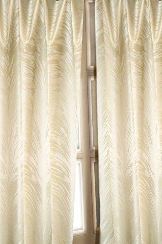 Ivory Palm leaf faux silk satin curtain/panel/drape (52